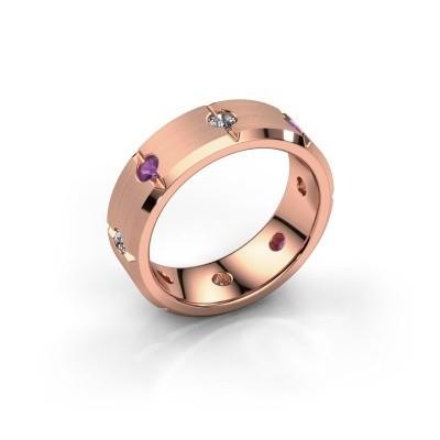 Men's ring Irwin 375 rose gold amethyst 2.7 mm