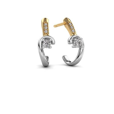 Photo de Boucles d'oreilles Ceylin 585 or blanc diamant 0.16 crt