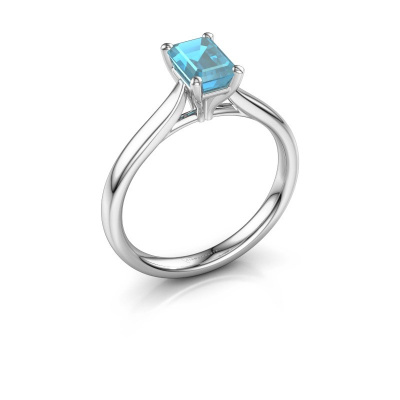 Verlovingsring Mignon eme 1 925 zilver blauw topaas 6.5x4.5 mm