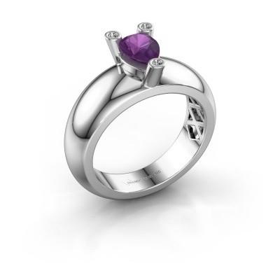 Ring Cornelia Pear 925 Silber Amethyst 7x5 mm