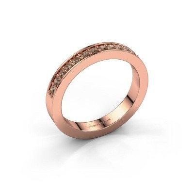Stackable ring Loes 6 375 rose gold brown diamond 0.28 crt