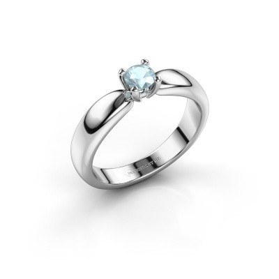 Promise ring Katrijn 585 witgoud aquamarijn 4.2 mm