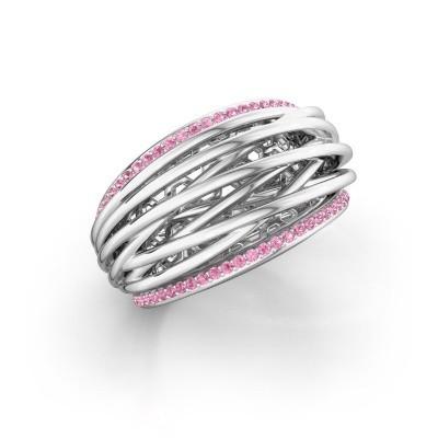 Foto van Ring Kirstin 585 witgoud roze saffier 1 mm