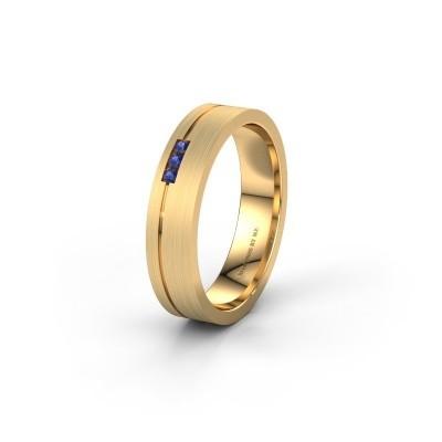 Trouwring WH0156L14X 585 goud saffier ±4,5x1.4 mm