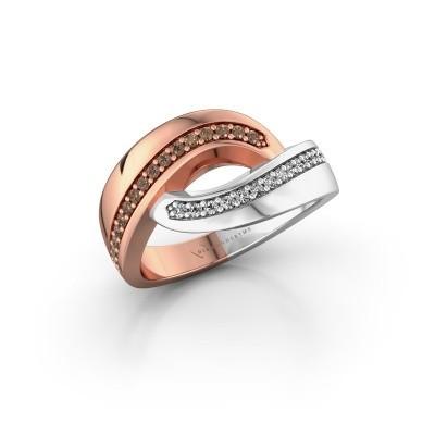 Ring Sharita 585 rosé goud bruine diamant 0.24 crt