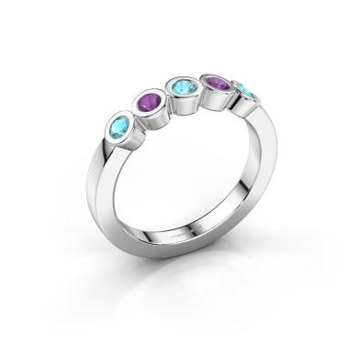 Ring Nova 585 white gold blue topaz 3 mm