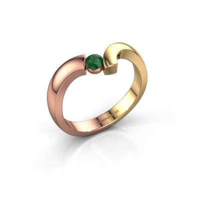 Ring Arda 585 rosé goud smaragd 3.4 mm