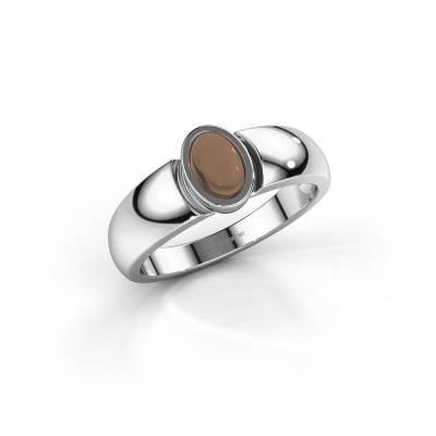 Foto van Ring Tonneke 925 zilver rookkwarts 6x4 mm