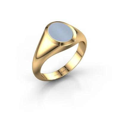 Zegelring Evon 1 585 goud licht blauwe lagensteen 10x8 mm