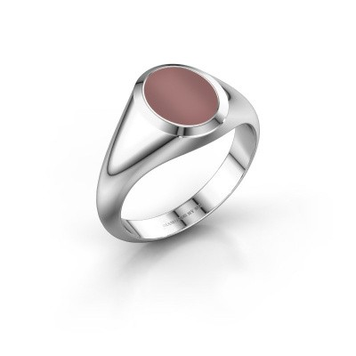 Signet ring Evon 1 375 white gold carnelian 10x8 mm