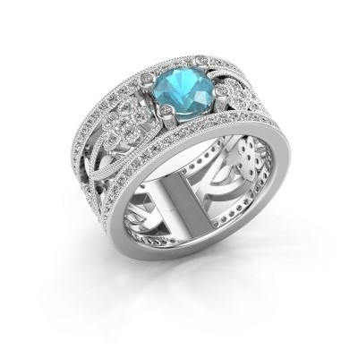 Ring Severine 585 witgoud blauw topaas 6 mm
