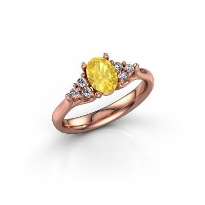Foto van Verlovingsring Monika OVL 375 rosé goud gele saffier 7x5 mm