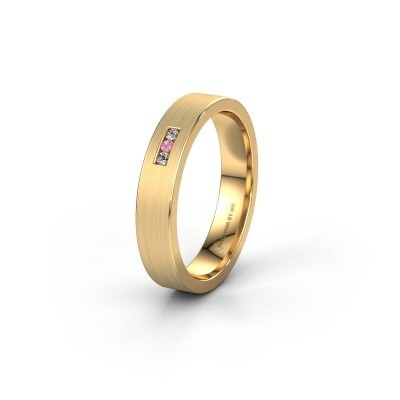 Wedding ring WH0106L14AM 375 gold pink sapphire ±4x1.7 mm