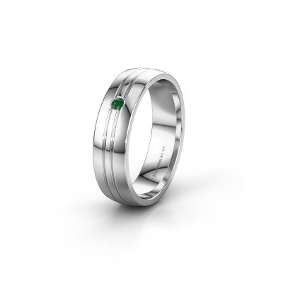 Wedding ring WH0420L25X 585 white gold emerald ±5x1.5 mm
