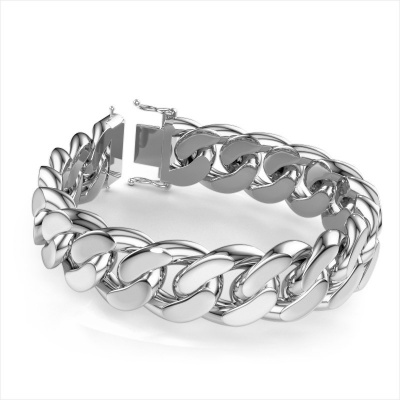 Picture of Cuban bracelet ±20 mm 585 white gold