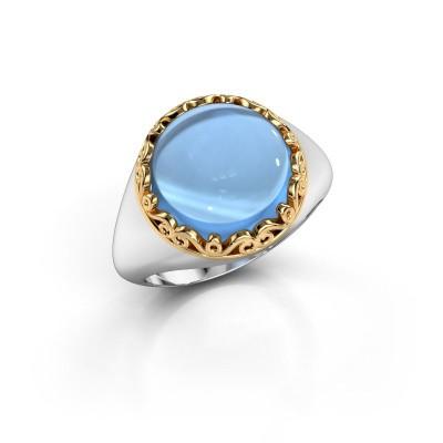 Ring Birgit 585 witgoud blauw topaas 12 mm