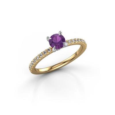 Foto van Verlovingsring Crystal rnd 2 585 goud amethist 5 mm
