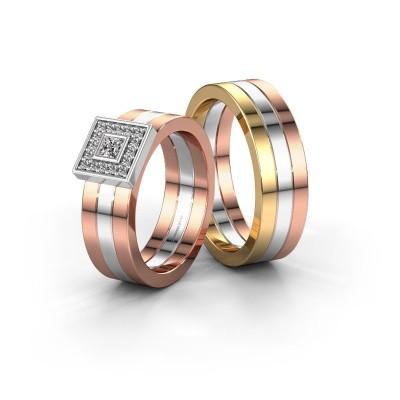 Foto van Trouwringen set WH2104LM ±6x1.8 mm 14 karaat rosé goud diamant 0.10 crt