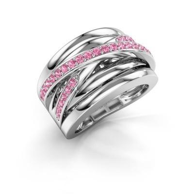 Foto van Ring Clair 3 585 witgoud roze saffier 1.5 mm