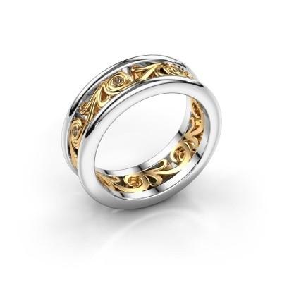 Bild von Ehering Bibi 585 Weißgold Braun Diamant ±7x2 mm
