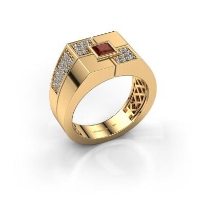 Foto van Heren ring Rogier 585 goud granaat 4 mm