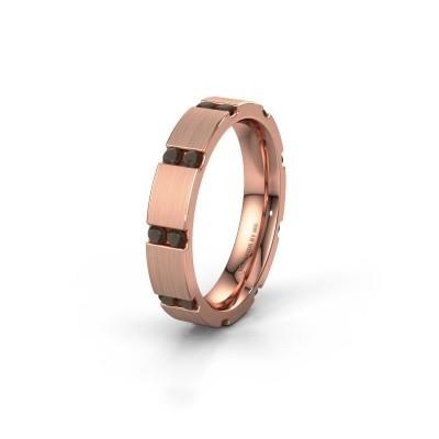Huwelijksring WH2132L14BM 375 rosé goud rookkwarts ±4x2.2 mm
