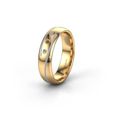 Wedding ring WH0152L25A 585 gold brown diamond ±5x1.7 mm