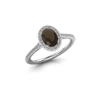 Engagement ring Seline 2 925 silver smokey quartz 7x5 mm