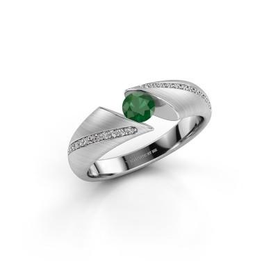 Verlovingsring Hojalien 2 925 zilver smaragd 4.2 mm