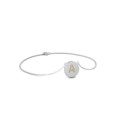 Bracelet Initial 050 375 or blanc saphir jaune 1 mm