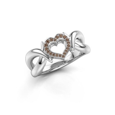 Ring Earlie 1 950 platina bruine diamant 0.077 crt