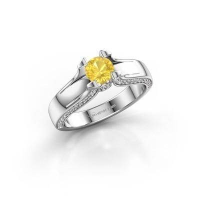 Foto van Verlovingsring Jeanne 1 585 witgoud gele saffier 5 mm