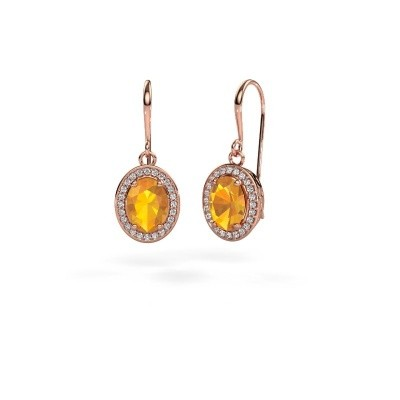 Pendants d'oreilles Latesha 375 or rose citrine 8x6 mm