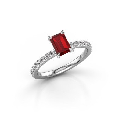 Picture of Engagement ring Crystal EME 2 925 silver ruby 6.5x4.5 mm