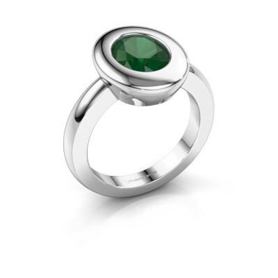 Ring Selene 1 925 zilver smaragd 9x7 mm