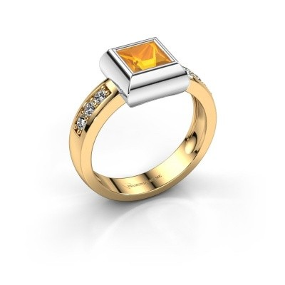 Ring Charlotte Square 585 gold citrin 5 mm