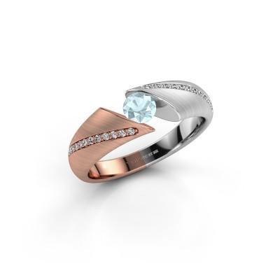 Verlovingsring Hojalien 2 585 rosé goud aquamarijn 4.2 mm