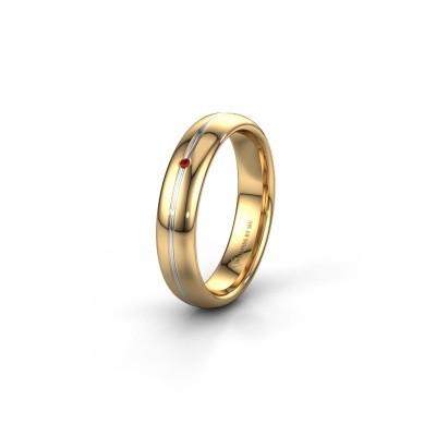 Wedding ring WH2142L34A 585 gold ruby ±4x1.7 mm