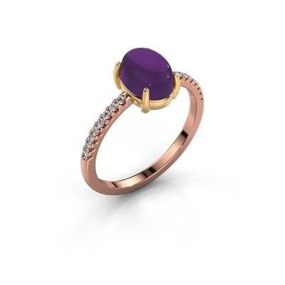 Ring Becky 585 rosé goud amethist 8x6 mm