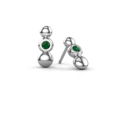 Picture of Earrings Lily 925 silver emerald 2.5 mm