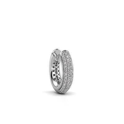 Photo de Boucle d'oreille homme Owen 14mm 585 or blanc diamant 0.161 crt
