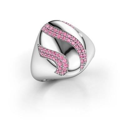 Ring Vilma 925 zilver roze saffier 1.2 mm