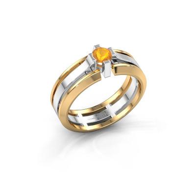 Herrenring Sem 585 Weißgold Citrin 4.7 mm