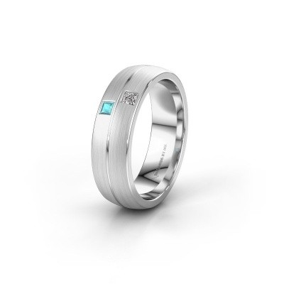 Wedding ring WH0250L26BM 585 white gold blue topaz ±0.24x0.08 in