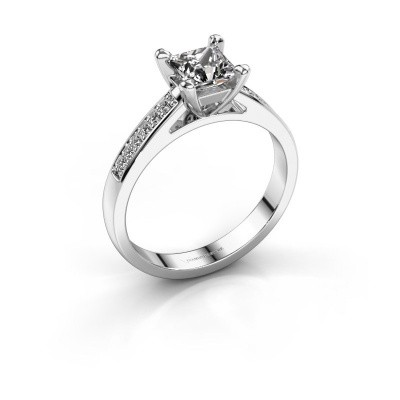 Engagement ring Nynke SQR 950 platinum diamond 0.56 crt