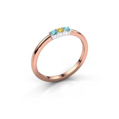 Foto van Verlovings ring Yasmin 3 585 rosé goud gele saffier 2 mm