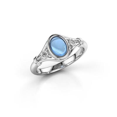 Ring Scarlett 925 zilver blauw topaas 7x5 mm