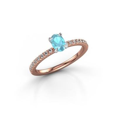 Foto van Verlovingsring Crystal OVL 2 585 rosé goud blauw topaas 6x4 mm