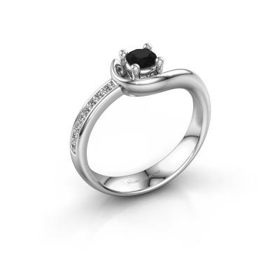 Ring Ceylin 585 witgoud zwarte diamant 0.36 crt