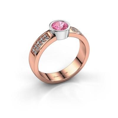Verlovingsring Ise 3 585 rosé goud roze saffier 4.7 mm